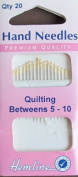 Hemline QUILTING BETWEENS Hand Needles SIZE 5 - 10 Pack of 20 Premium Quality Quilt NEEDLES w Gold Tone Eye