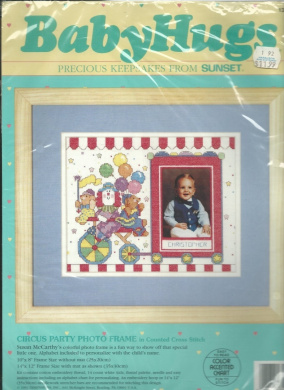 Vintage Baby Hugs 13530 Curcus Party Photo Frame Cross Stitch Kit