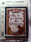 Needlework Magic Bear Wildflowers 13cm X 18cm Counted Cross Stitch Kit Includes Frame