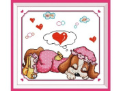 Happy Forever Cross Stitch, cartoon, Pink dream