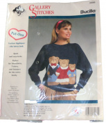 Bucilla Gallery of Stitches Put Ons 32585 Fashion Appliques Teddy Family