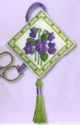 Textile Heritage Scissor Keep Cross Stitch Kit - Violets