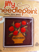 Jiffy Needlepoint Orange Thistle Basket Fits 13cm X 13cm Frame