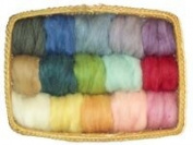 150ml - 15 colour ecosoft wool roving- 30ml each colour