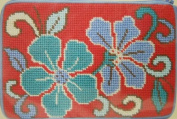 Stitch and Zip Cosmetic Purse Needlepoint Kit-Red Asian Floral SZ601