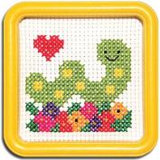 Easy Street Little Folks Happy Itch Worm with Flowers Cross-Stitch Kit