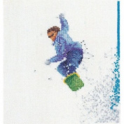 Snowboarder On Linen Counted Cross Stitch Kit-15cm - 0.6cm x 17cm 36 Count
