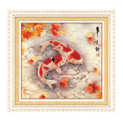 Pair of Koi fish 3D Stamped Cross Stitch Kit - 70cm By 70cm