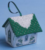 The Nutmeg Company Green & Silver Gingerbread House 3D Cross Stitch Kit