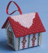 The Nutmeg Company Red & Gold Gingerbread House 3D Cross Stitch Kit