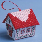 The Nutmeg Company Red & Silver Gingerbread House 3D Cross Stitch Kit