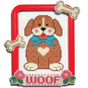 Easy Street Crafts Puppy Dog with Bones and Friendly Woof Sign Counted Cross-Stitch Kit