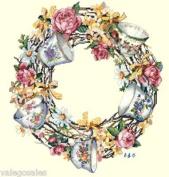 Candamar Designs Teacup Wreath Cross Stitch Kit