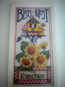 """Bless This Nest"" Counted Cross Stitch with White Frame -- 15cm x 30cm Kit"