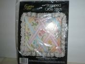 Stamped Cross Stitch Pastel Lattice Nosegay Pillow
