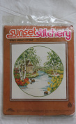 "Vintage 1978 Sunset Stitchery "" Spring Garden Cottage "" Designed by Charlene Gerrish Kit"