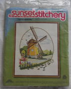 "Vintage 1981 Sunset Stitchery "" Dutch Windmill "" Kit - Designed by Barbara Jennings"