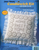 "Creative Moments Candlewick Kit ~ ""Home Sweet Home"" ~ Lace Edged Pillow"