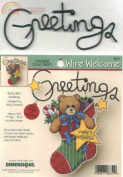 Dimensions Teddy Bear Greeting Wire Welcome Counted Cross Stitch Kit