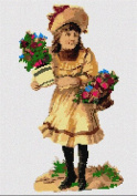 Evelyn and Flowers Needlepoint Canvas