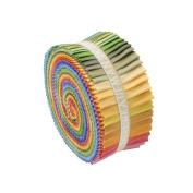 Robert Kaufman KONA COTTON SOLIDS NEW DUSTY Roll Up 6.4cm Fabric Strips Jelly Roll RU-229-41