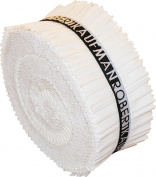 Kona Cotton Solids Snow Roll-Up 6.4cm Fabric Quilting Strips Jelly Roll Robert Kaufman RU-189-40
