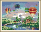 Happy Forever Cross Stitch, Scenery, colourful balloons