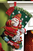 Bucilla 46cm Christmas Stocking Felt Applique Kit, Fireman Santa