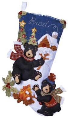 Bucilla 85467 Felt Appliqué Stocking- Black Bear Bonfire