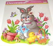 Grey Easter Bunny and Chick Watering Flowers Vinyl Glitter Window Cling