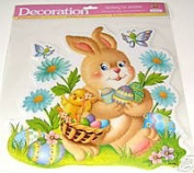 Easter Bunny Rabbit and Chick with Blue Flowers Vinyl Glitter Window Cling