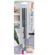 Pentel Arts Wet Erase Chalk Marker, Chisel Tip, Black Ink, 1 Pack