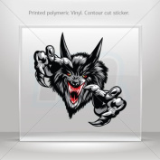 Sticker Decal Wolf Head car window bike ATV jet-ski Garage door 0500 RS26W