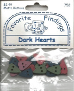 Dark Colours Country Hearts Buttons for Scrapbooking
