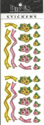 Yellow and Pink Posies and Ribbons Scrapbook Stickers