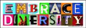 Embrace Diversity 7.6cm x 23cm Bumper Sticker