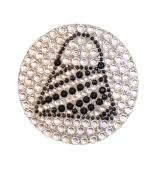 Crystal Heiress Rhinestone Sticker, Purse, 6.4cm , Black/Silver