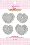 Bella Blvd Scallop Grey Crochet Heart Embellishments