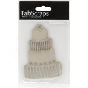 Fabscraps Die-Cut Grey Chipboard Embellishment, Wedding Cake, 11cm by 8.1cm