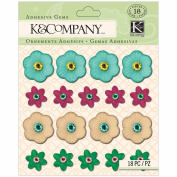 K & Company Stickers, Handmade Plastic Floral Gems Cool