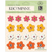 K & Company Stickers, Handmade Plastic Floral Gems Warm