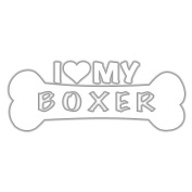 I Love My Boxer Dog Bone Vinyl Decal Sticker in 15cm wide