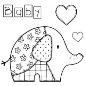 Woodware Clear Stamps 8.9cm x 8.9cm -Baby Patch Elephant