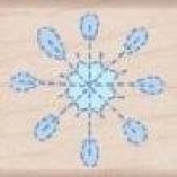 Stitched Lollipop Snowflake Wood Mounted Rubber Stamp