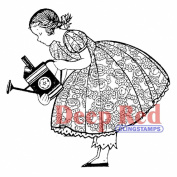 Deep Red Cling Stamp, 5.1cm x 5.1cm , Gardening Girl