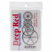 Deep Red Cling Stamp 7.9cm x 3.8cm -Gears & Pulleys