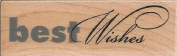 Textured Best Wishes Wood Mounted Rubber Stamp