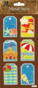 Summer Fun Tags Dimensional Metal Edge Scrapbook Stickers