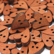 100 Small Brown Wooden Heart Shaped Buttons For Scrapbooking Swing Craft Fashion