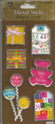 Birthday Party Metal Edge Tags Dimensional Scrapbook Stickers